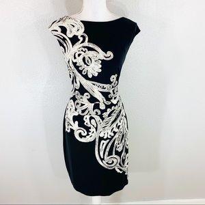 Ralph Lauren black cream scroll print midi dress